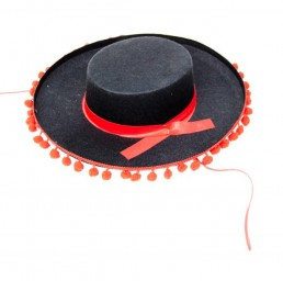 Spanischer Sombrero (Hut), schwarz mit rot