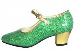 Anna Frozen Schuhe / Spanische Schuhe grün gold Glamour