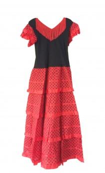 Flamenco Kleider Damen rot schwarz