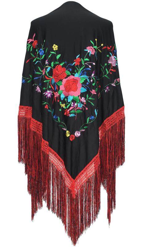 La Senorita Spanischer Manton//Tuch schwarz mit roten Blumen Gr/ö/ße L